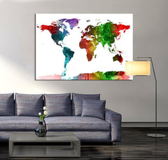 Large Canvas Art Watercolor World Map , Large Wall Art Color World Map, Watercolor World Map Print, Mixed Color World Map, Large Map Canvas-Wall Art Canvas-Extra Large Wall Art Canvas Print-Extra Large Wall Art Canvas Print