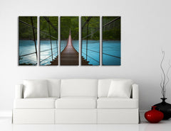 LARGE CANVAS ART Wooden Bridge in Forest over Bright Lake Art Prints For Wall, 5 Panels Framed, Canvas Art Large Wall Prints-Wall Art Canvas-Extra Large Wall Art Canvas Print-Extra Large Wall Art Canvas Print