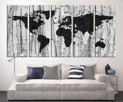 Large Canvas Print - Black and White World Map Wall Art, Grayscale World Map Art Canvas Print, World Map Print, World Map Print on Canvas - MC216-Wall Art Canvas-Extra Large Wall Art Canvas Print-Extra Large Wall Art Canvas Print