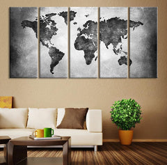 Large Canvas Print - Black and White World Map Wall Art, Large Wall Art World Map Art, World Map Print, Cracked Earth World Map Print - MC156-Wall Art Canvas-Extra Large Wall Art Canvas Print-Extra Large Wall Art Canvas Print