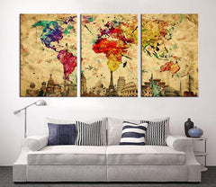 Large CANVAS PRINT - Large World Map Canvas Art Print, Large Wall Art Multicolor World Map Art, Extra Large Watercolor World Map Print-Wall Art Canvas-Extra Large Wall Art Canvas Print-Extra Large Wall Art Canvas Print