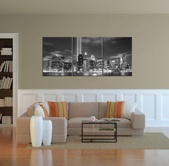 Large Canvas Print Manhattan Night Cityscape, Manhattan Large Wall Art Canvas Print, New York City Wall Art Canvas Print-Wall Art Canvas-Extra Large Wall Art Canvas Print-Extra Large Wall Art Canvas Print