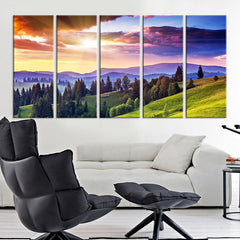 Large Canvas Print Mountain and Sunlight, Wall Art Canvas Print, Colored Sunset and Mountain Lanscape Canvas Print, Oversize Art Print-Wall Art Canvas-Extra Large Wall Art Canvas Print-Extra Large Wall Art Canvas Print