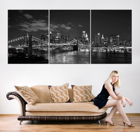 Large Canvas Print New York City Night Cityscape, Big Apple Large Art Canvas Print, New York City Wall Art Canvas Print - MC152-Wall Art Canvas-Extra Large Wall Art Canvas Print-Extra Large Wall Art Canvas Print