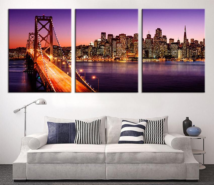 Large Canvas Print - San Francisco Night Skyline Cityscape, San Francisco Skyline and Bay Bridge at Sunset, California Canvas Print-Wall Art Canvas-Extra Large Wall Art Canvas Print-Extra Large Wall Art Canvas Print