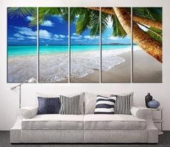 Large Canvas Print - Sea and Beach, Palm on the Beach Canvas Print, Large Wall Art Print, Tropical Island Art Canvas, Ocean Beach Canvas-Extra Large Wall Art Canvas Print