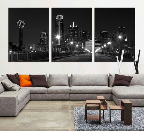 Large Canvas Print - Texas Dallas Skyline Black & White Night Cityscape, Dallas Large Art Canvas Print, Texas Dallas City Art Canvas Print-Wall Art Canvas-Extra Large Wall Art Canvas Print-Extra Large Wall Art Canvas Print