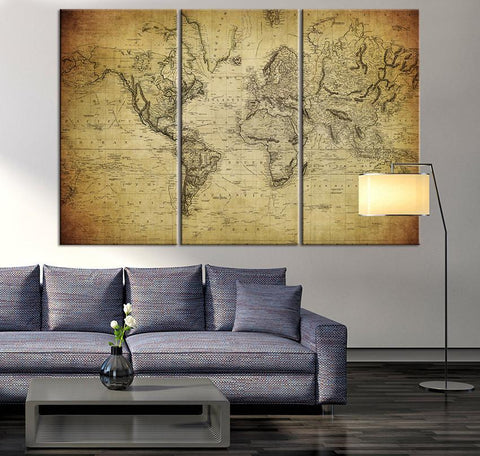 Large Canvas Print - Vintage Map of the World, Vintage 3 Panel Map Art Print, Great Design for Home and Office Decor, Streching Art Print-Wall Art Canvas-Extra Large Wall Art Canvas Print-Extra Large Wall Art Canvas Print