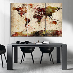 Large Canvas Print Watercolor World Map Art - Vintage Watercolor World Map Print on Canvas, Framed and Streched, Ready to Hanging-Wall Art Canvas-Extra Large Wall Art Canvas Print-Extra Large Wall Art Canvas Print
