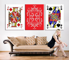 Large CANVAS PRINTING - Poker Set with Isolated Cards Art Print Set, Playing Cards 3 Panel Wall Art-Wall Art Canvas-Extra Large Wall Art Canvas Print-Extra Large Wall Art Canvas Print