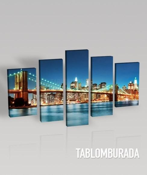 LARGE CANVAS Wall Art - Canvas Print Ready to Hang 5 Panels - Best Quality Print for Great Home Decorations - New York Brooklyn Bridge-Wall Art Canvas-Extra Large Wall Art Canvas Print-Extra Large Wall Art Canvas Print