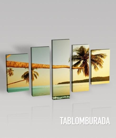 LARGE CANVAS Wall Art - Parallely Growth Palm to Sea and Beach Photo Print on Canvas Print Ready to Hang 5 Panels Stretched-Extra Large Wall Art Canvas Print