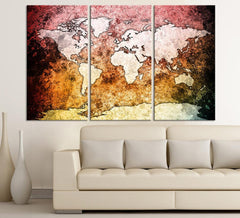 Large Canvas Wall Art Pink Orange and Black Backgrounded World Map 3 Piece Triptych Vintage Retro World Map Canvas-Wall Art Canvas-Extra Large Wall Art Canvas Print-Extra Large Wall Art Canvas Print