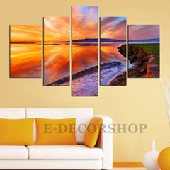 LARGE CANVAS Wall Art - Sunset 5 Piece Canvas Art Print for Home and Wall Decor | Wall Art Canvas Beach and Sundown-Extra Large Wall Art Canvas Print