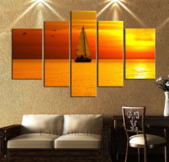 LARGE CANVAS Wall Art - Sunset on the Sea Art Canvas Print - Boat 5 Panel Stretched Canvas Art Print-Extra Large Wall Art Canvas Print