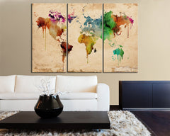 Large Colorful Watercolor Urban World Map Canvas Print - Contemporary 3 Panel Triptych Colorful Rainbow Colors Large Wall Art-Wall Art Canvas-Extra Large Wall Art Canvas Print-Extra Large Wall Art Canvas Print