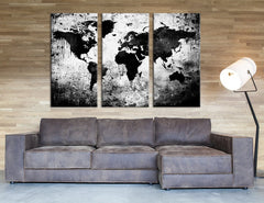 Large Triptych Art Black White World Map Canvas Print, Large World Map Wall Art, Splatter World Map Canvas Print, Retro World Map Wall Art-Wall Art Canvas-Extra Large Wall Art Canvas Print-Extra Large Wall Art Canvas Print