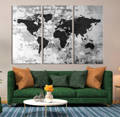 Large Triptych Art Grayscale World Map Canvas Print, Large World Map Wall Art, World Map on Old Wall Canvas Print, Retro World Map Wall Art-Wall Art Canvas-Extra Large Wall Art Canvas Print-Extra Large Wall Art Canvas Print