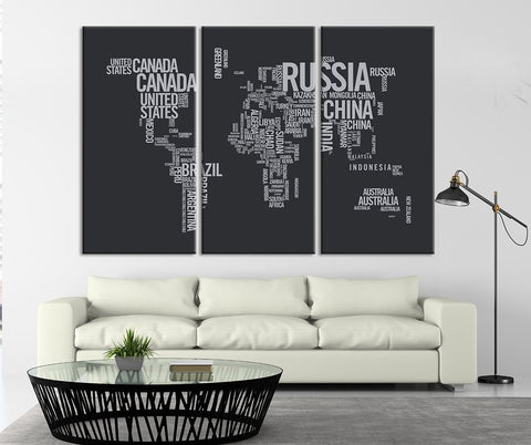 Large Triptych Art Typography World Map Canvas Print, Large Type World Map Wall Art, Text World Map Canvas Print, Retro World Map Wall Art - T1-Wall Art Canvas-Extra Large Wall Art Canvas Print-Extra Large Wall Art Canvas Print