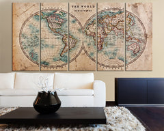 Large Vintage WORLD MAP Canvas Print Art - Antique World Map Canvas 5 Piece Canvas Art Print - Large Wall Art Canvas World Map - MC103-Wall Art Canvas-Extra Large Wall Art Canvas Print-Extra Large Wall Art Canvas Print