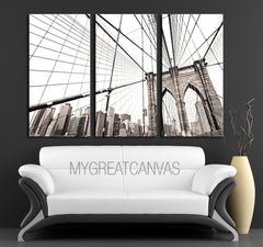 LARGE Wall Art 3 Panel Canvas Brooklyn Bridge + Ready to Hang + New York Skyline Stretched on Deep 3cm Frame - MC233-Wall Art Canvas-Extra Large Wall Art Canvas Print-Extra Large Wall Art Canvas Print