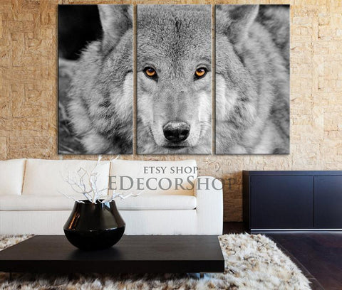 Large Wall Art 3 Panel Orange Eyed Wolf Canvas Print - 3 Piece Wolf Wall Art Canvas Printing - Giclee - Red Eye Wolf Framed Canvas - MC175-Wall Art Canvas-Extra Large Wall Art Canvas Print-Extra Large Wall Art Canvas Print