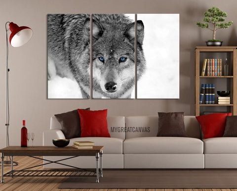 Large Wall Art 3 Panel Wildly Looking Wolf Canvas Print - Framed Animal Canvas Printing - Giclee Print - MC164-Wall Art Canvas-Extra Large Wall Art Canvas Print-Extra Large Wall Art Canvas Print
