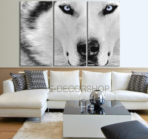 Large Wall Art 3 Panel Wolf Canvas Print - 3 Piece Husky Wall Art Canvas Printing - Blue Eye Color Canvas Art Print - MC60-Wall Art Canvas-Extra Large Wall Art Canvas Print-Extra Large Wall Art Canvas Print