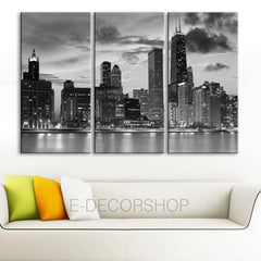 LARGE Wall Art 3 Panels Canvas Print Beautiful Chicago Skyline Sunset Light-Wall Art Canvas-Extra Large Wall Art Canvas Print-Extra Large Wall Art Canvas Print