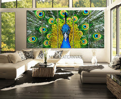 Large Wall Art 5 Panel Peacock Canvas Print - Peacock Canvas Art Print Wall Mural - Animal Canvas Painting Wall Art-Wall Art Canvas-Extra Large Wall Art Canvas Print-Extra Large Wall Art Canvas Print