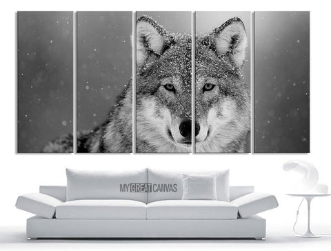 Large Wall Art 5 Panel Siberian Wolf Canvas Print - Framed Animal Canvas Printing - Giclee Print-Wall Art Canvas-Extra Large Wall Art Canvas Print-Extra Large Wall Art Canvas Print