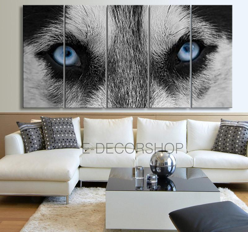 Large Wall Art 5 Panel The Eye of the Wolf Canvas Print - Animal Blue Eye Canvas Printing - Wolf Eye Canvas Giclee Print-Wall Art Canvas-Extra Large Wall Art Canvas Print-Extra Large Wall Art Canvas Print