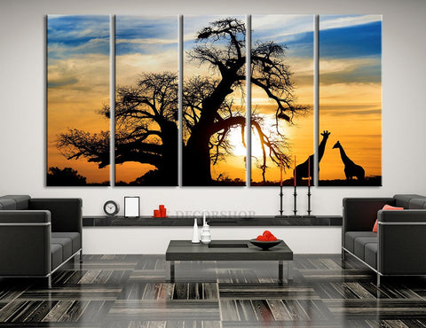 Large Wall Art Africa Sunset with Giraffes Canvas Print | Giraffes and Old Tree Art Canvas Print - MC154-Wall Art Canvas-Extra Large Wall Art Canvas Print-Extra Large Wall Art Canvas Print