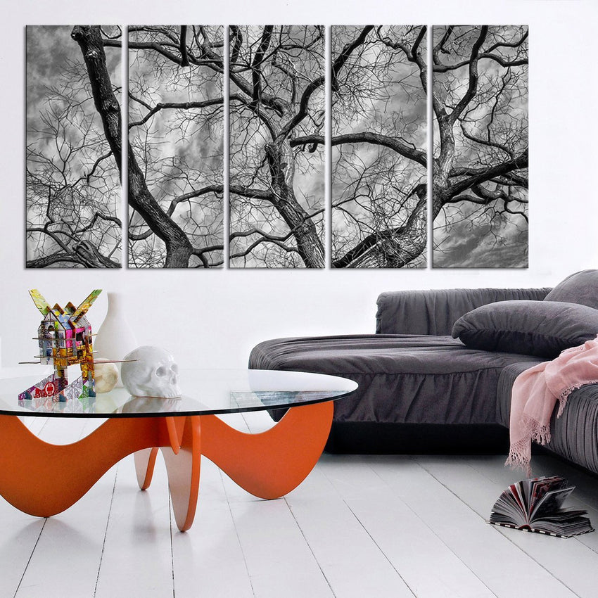Large Wall Art Autumn and Dead Wood Canvas Print | Black White Tree Canvas Print | Dead wood Canvas Printing - MC167-Wall Art Canvas-Extra Large Wall Art Canvas Print-Extra Large Wall Art Canvas Print