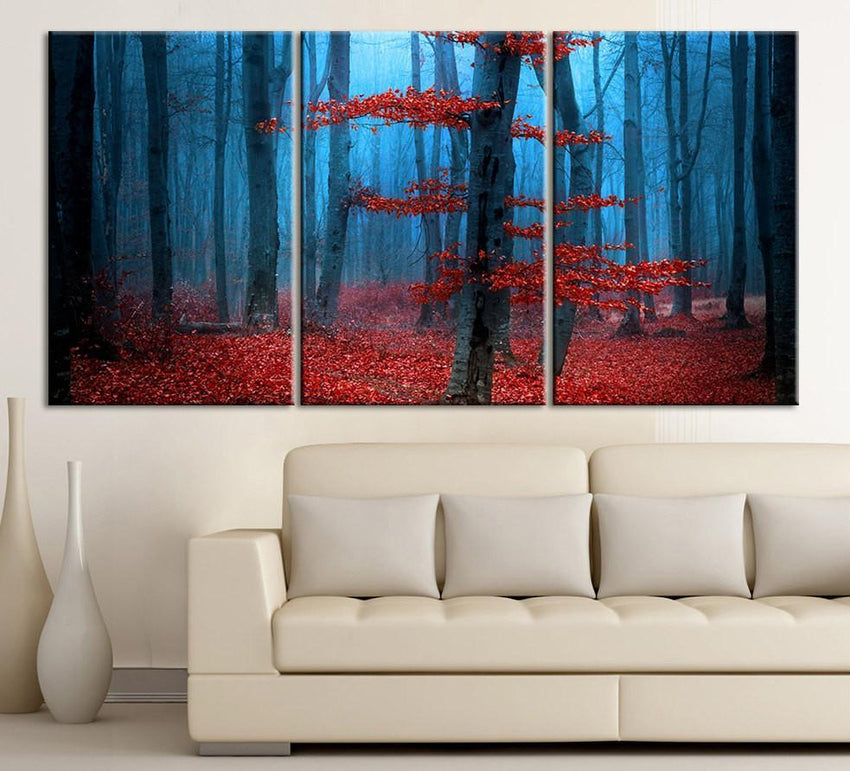 Large Wall Art Blue Forest and Red Leaves Autumn Canvas Print - Contemporary 3 Panel Triptych Red Leaves in Forest Canvas Art Large Wall Art - MC37-Wall Art Canvas-Extra Large Wall Art Canvas Print-Extra Large Wall Art Canvas Print