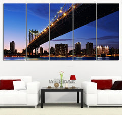 Large Wall Art Brooklyn Bridge And Lower Manhattan City Skyline Canvas Wall Art - Large Size 5 Panel City New York City Night Skyline-Wall Art Canvas-Extra Large Wall Art Canvas Print-Extra Large Wall Art Canvas Print