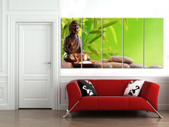 Large Wall Art Buddha Statue and Candle on Stones Canvas Print - Wall Art Large Canvas Prints-Wall Art Canvas-Extra Large Wall Art Canvas Print-Extra Large Wall Art Canvas Print