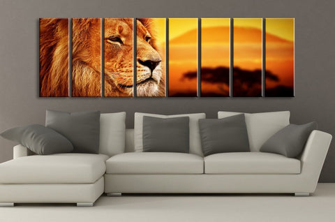 Large Wall Art Canvas African Lion at Sunset CANVAS PRINT ART 8 Panel Canvas Sunset and Lion Ready to Hang - MC153-Wall Art Canvas-Extra Large Wall Art Canvas Print-Extra Large Wall Art Canvas Print