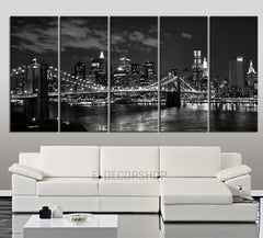 LARGE Wall Art Canvas Art Print New York at Night City Skyline - Wall Art Brooklyn Bridge Canvas Print - Art Canvas Print for Wall Decor-MC92-Wall Art Canvas-Extra Large Wall Art Canvas Print-Extra Large Wall Art Canvas Print