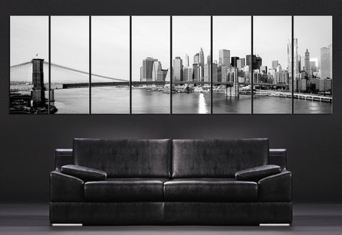 LARGE Wall Art Canvas Art Prints New York City skyline with Brooklyn Bridge - 8 Panel Large Size Manhattan view Extra Large Canvas Prints-Wall Art Canvas-Extra Large Wall Art Canvas Print-Extra Large Wall Art Canvas Print