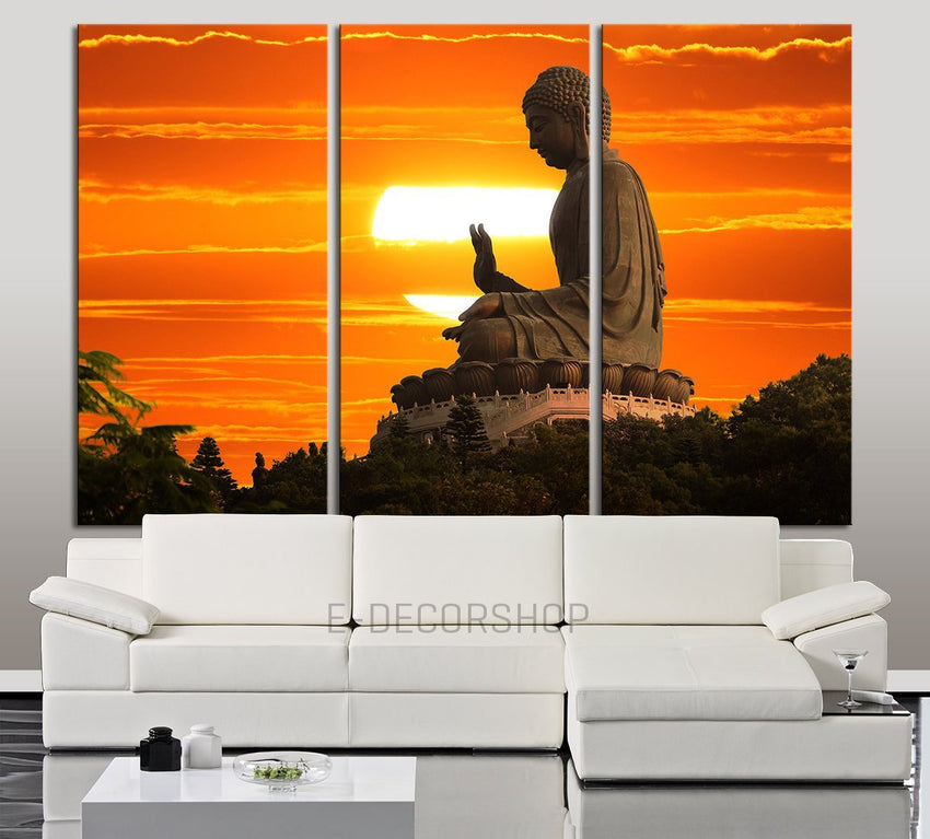 Large Wall Art Canvas Buddha Statue at Sunset Print - 3 Panel Wall Canvas Art Print Buddha-Wall Art Canvas-Extra Large Wall Art Canvas Print-Extra Large Wall Art Canvas Print