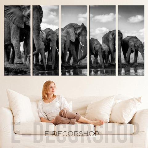 Large Wall Art Canvas Elephant Herd Print - Canvas Wild Elephant Family Art Prints For Wall, Ready to Hang-Wall Art Canvas-Extra Large Wall Art Canvas Print-Extra Large Wall Art Canvas Print