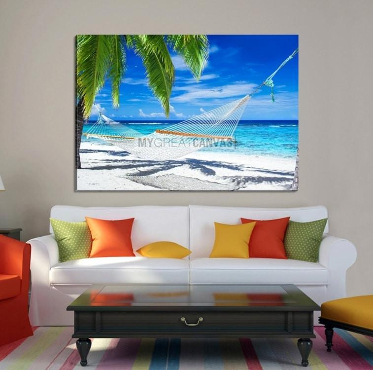 Large Wall Art Canvas Hammock Between Palms in Shiny Day-Extra Large Wall Art Canvas Print