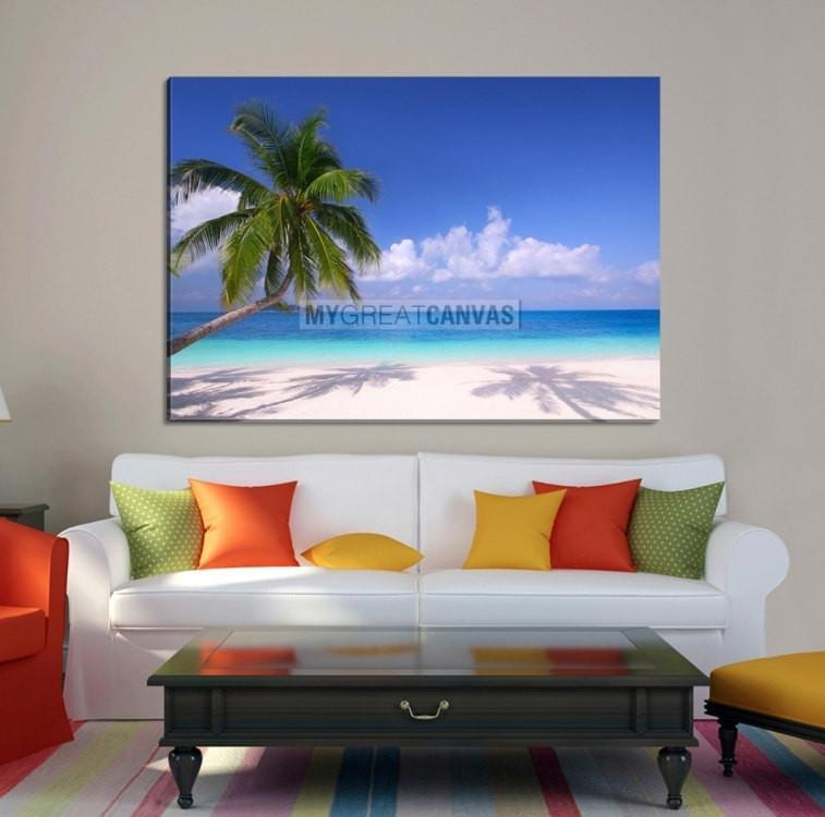 Large Wall Art Canvas Inclined Palm on Beach-Extra Large Wall Art Canvas Print