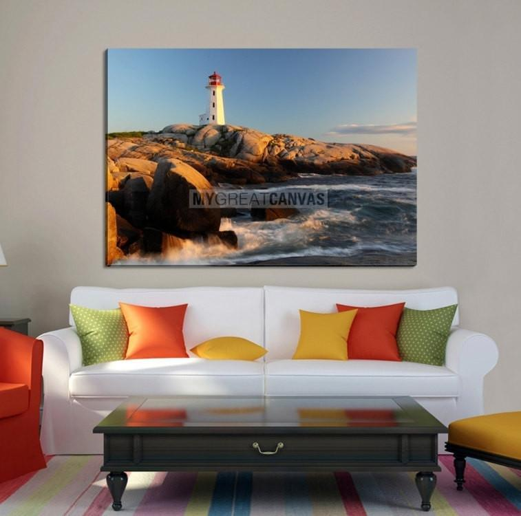 Large Wall Art Canvas Lighthouse with Rocks and Waves-Extra Large Wall Art Canvas Print