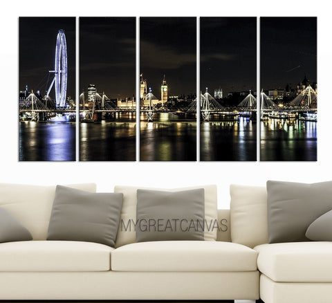 Large Wall Art Canvas London Skyline Canvas Print | London Night Landscape Print | London Eye Canvas Print-Wall Art Canvas-Extra Large Wall Art Canvas Print-Extra Large Wall Art Canvas Print