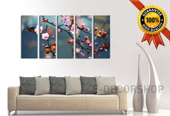 Large Wall Art Canvas Print Almond Tree Prints For Wall, 5 Panels Framed Ready to Hang, Cherry Blossom Prints On Canvas-Wall Art Canvas-Extra Large Wall Art Canvas Print-Extra Large Wall Art Canvas Print