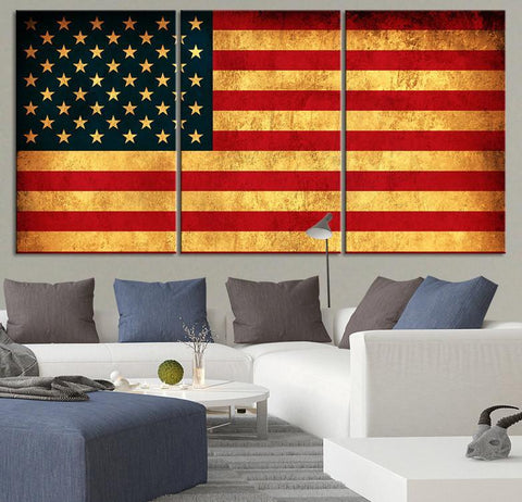 LARGE Wall Art CANVAS Print American Flag - Wall Art 3 Panel Canvas Retro American Flag Triptych Painting - MC14-Wall Art Canvas-Extra Large Wall Art Canvas Print-Extra Large Wall Art Canvas Print