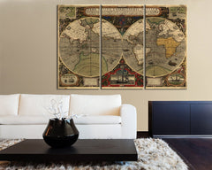 Large Wall Art Canvas Print Ancient World Map - Vintage World Map Art Canvas - Canvas Art Print - Large Size World Map-Wall Art Canvas-Extra Large Wall Art Canvas Print-Extra Large Wall Art Canvas Print