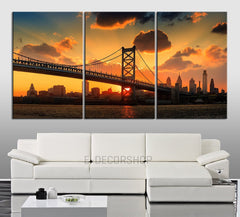 LARGE Wall Art Canvas Print Ben Franklin Bridge and Philadelphia Cityscape - 3 Panel Triptych Philadelphia City Canvas Art Large Wall Art-Wall Art Canvas-Extra Large Wall Art Canvas Print-Extra Large Wall Art Canvas Print